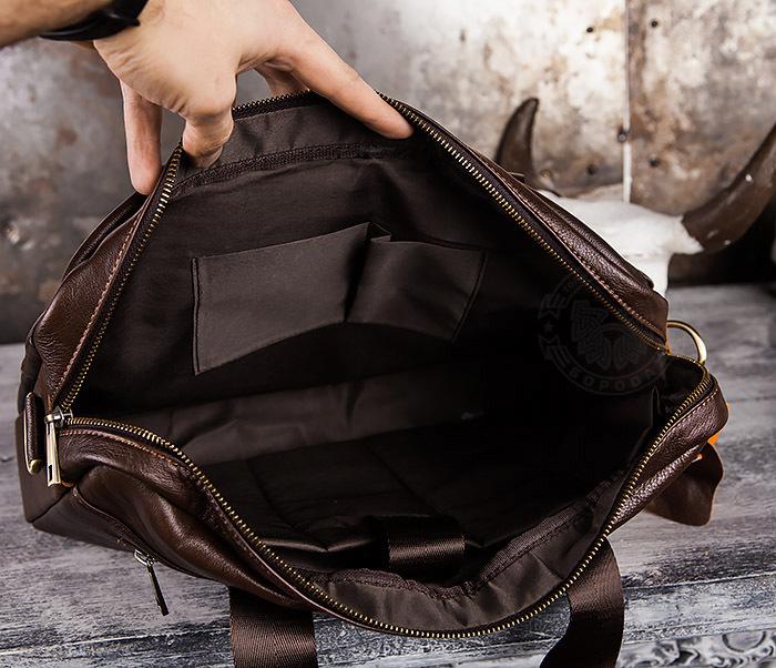 BAG428-2 Шикарный мужской портфель из натуральной кожи с ремнем на плечо фото 10