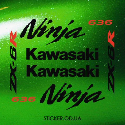 Набор виниловых наклеек на мотоцикл KAWASAKI ZX-6R, Ninja, 636, 2005