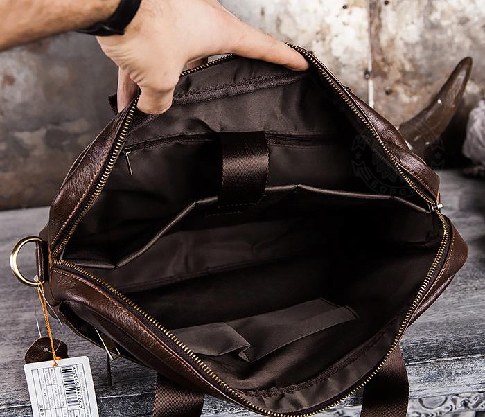 BAG428-2 Шикарный мужской портфель из натуральной кожи с ремнем на плечо фото 11