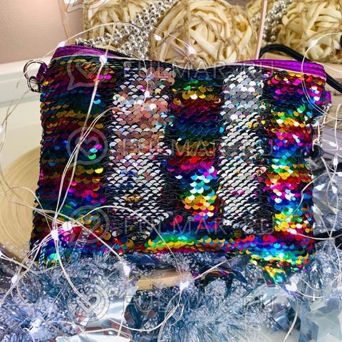 Клатч-сумочка на молнии детская с пайетками меняющая цвет Радужный-Серебристый
