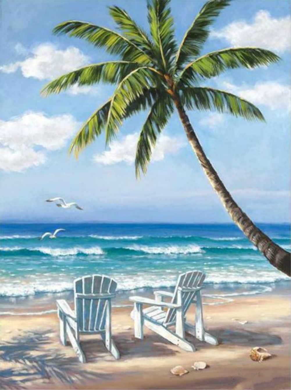 Картина раскраска по номерам 30x40 Отдых под пальмой ...
