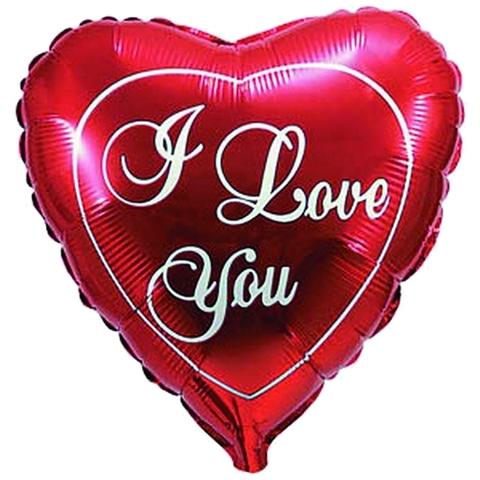 Фольгированный шар сердце ILY красное