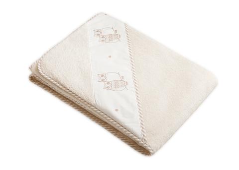 Полотенце детское 100х100 Luxberry Совята с капюшоном белое