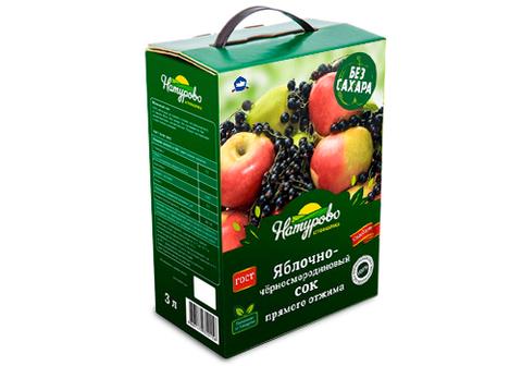 Сок яблочно-черносмородиновый прямого отжима,  3л