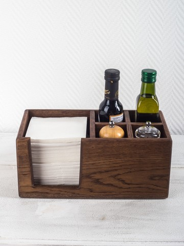 Oak Napkin Holder with Salt & Pepper Sections