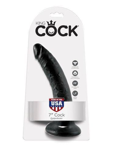 Фаллоимтатор на присоске черный King Cock 7 фото