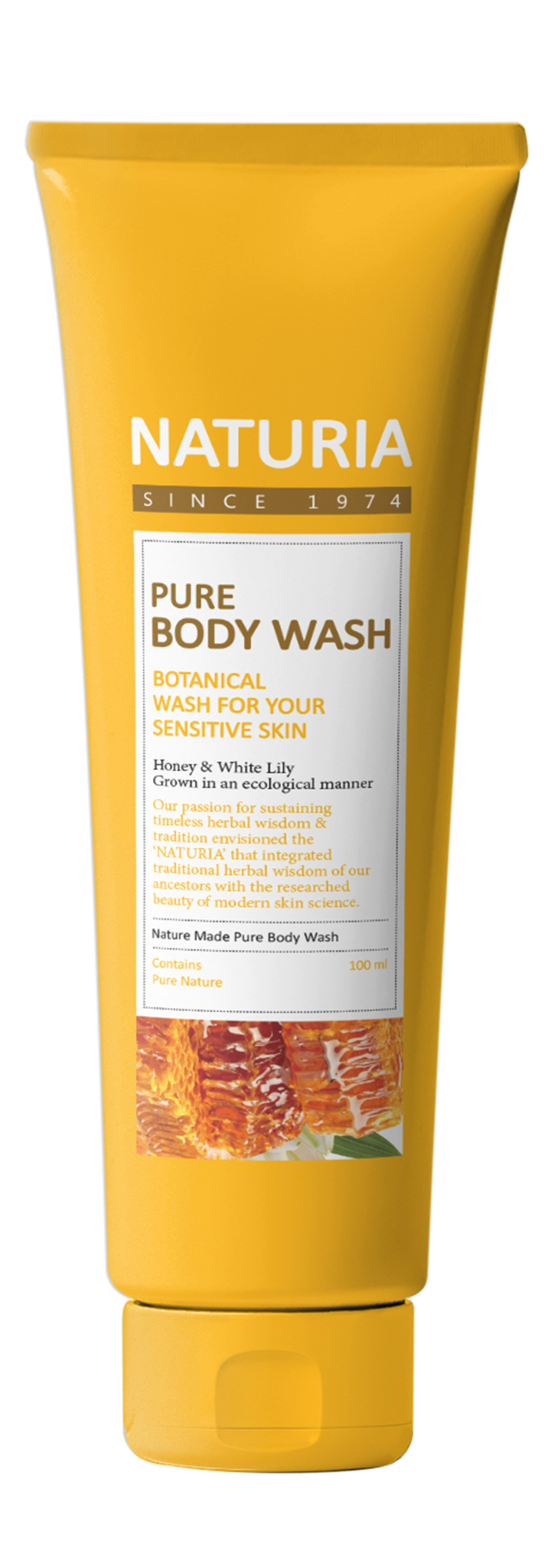 Гели для душа Гель для душа Мед и Лилия, NATURIA,  Pure Body Wash (Honey & White Lily),  100 мл 004952.jpg