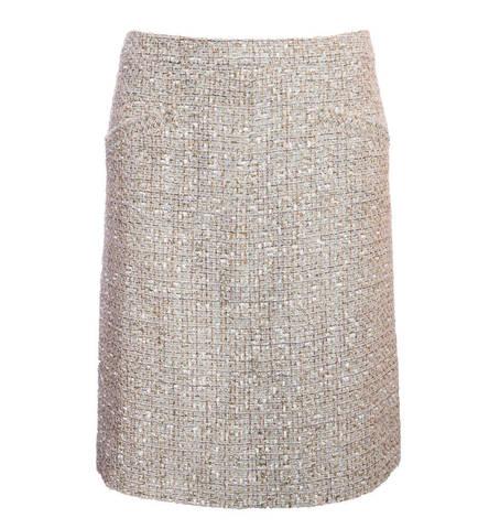 Красивая твидовая юбка в бежево-золотистых тонах от Chanel, 38 размер