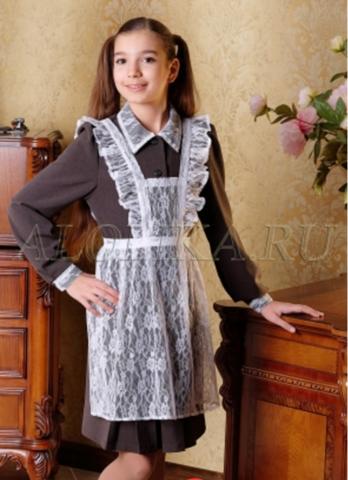 Alolika Фартук школьный из гипюра Ассоль белый