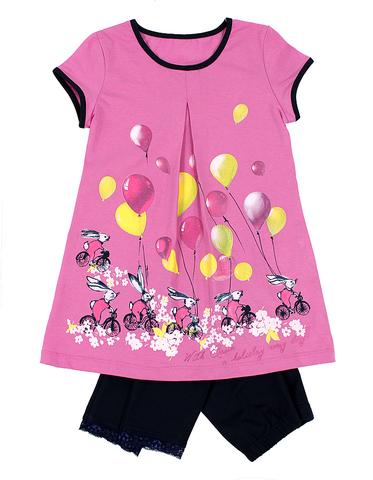 Basia Л613 Комплект для девочки туника+бриджи розовый