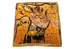 Итальянский платок из шелка золотой картина 1151