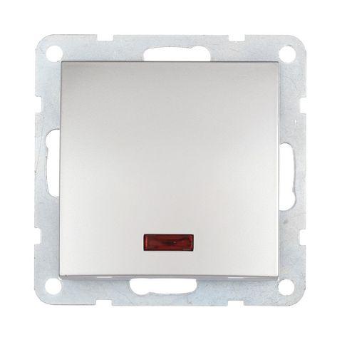 Выключатель одноклавишный, c индикатором (схема 1L) 16 A, 250 В~. Цвет Серебристый металлик. LK Studio LK60 (ЛК Студио ЛК60). 860203
