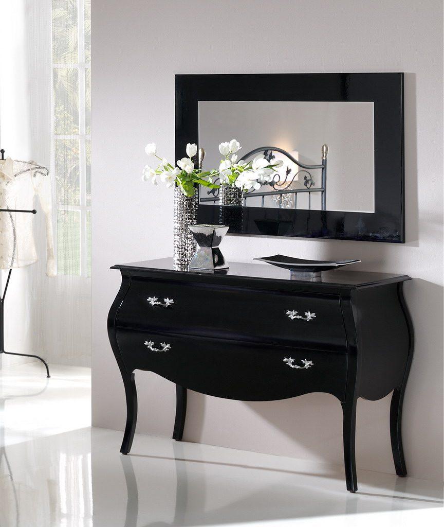 Комод горизонтальный DUPEN С-93 черный, Зеркало DUPEN E-96 black