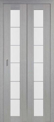 > Экошпон складная Optima Porte Турин 501АСС молдинг SC  (2 полотна), стекло матовое, цвет дуб серый, остекленная