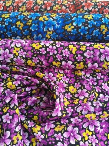 Картинка Ткань Штапель Принт Незабудка (Ширина 150 см, полиэстер)