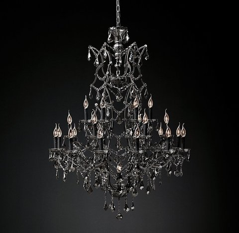 19th C. Rococo Iron & Smoke Crystal Round Chandelier 41
