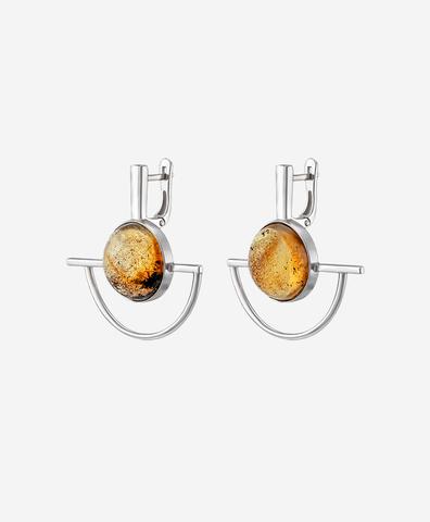 Серебряные серьги Modernism с включениями в янтаре
