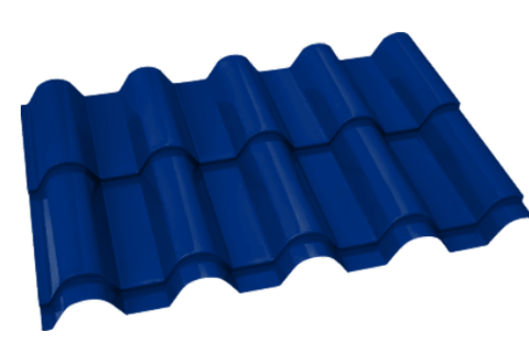 Металлочерепица Банга Полиэстер RAL 5005 Синий сигнал 0,45 мм