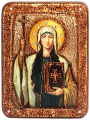 Инкрустированная икона Святая Равноапостольная Нина, просветительница Грузии 20х15см на натуральном дереве в подарочной коробке