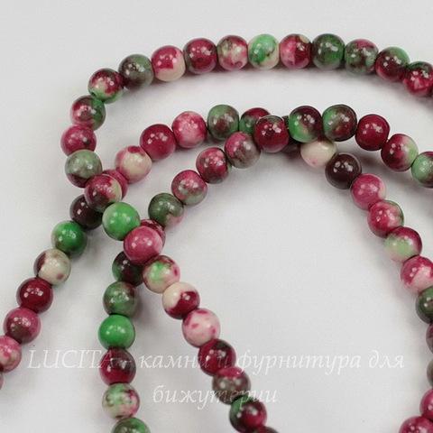 Бусина Жадеит (тониров), шарик, цвет - белый+зеленый+розовый, 4 мм, нить