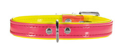 Ошейник для собак, Hunter Smart Modern Art Neon, 27 (20-23,5 см), заменитель кожи неоновый розовый/желтый