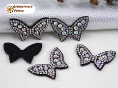 Бабочки стразовые на фетре с прозрачными камнями №3