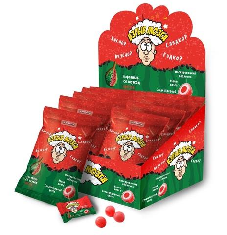 ВЗРЫВ МОЗГА карамель со вкусом арбуза в пакете, 1кор*12бл*24шт 15г