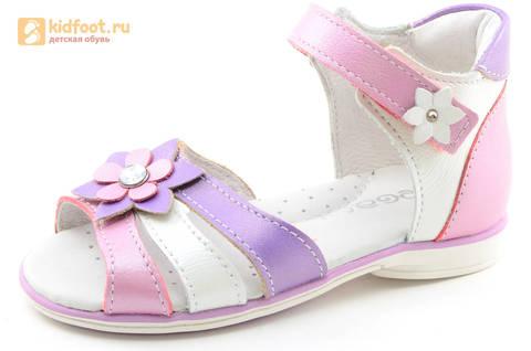 Босоножки ELEGAMI (Элегами) из натуральной кожи для девочек, цвет белый розовый. Изображение 1 из 12.