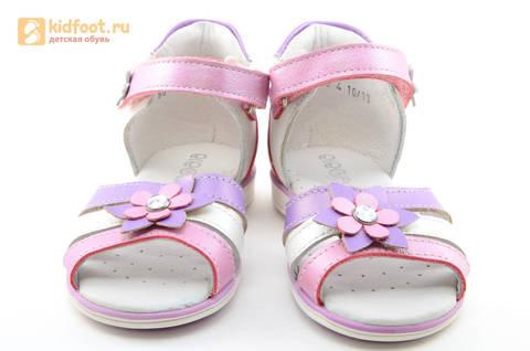 Босоножки ELEGAMI (Элегами) из натуральной кожи для девочек, цвет белый розовый. Изображение 5 из 12.