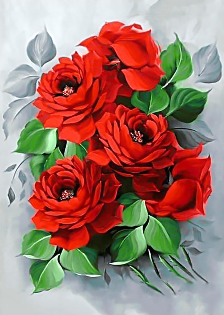 Картина раскраска по номерам 30x40 Красные цветы с ...