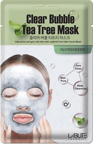 Кислородная маска с чайным деревом LABUTE Clear Bubble Tea Tree Mask