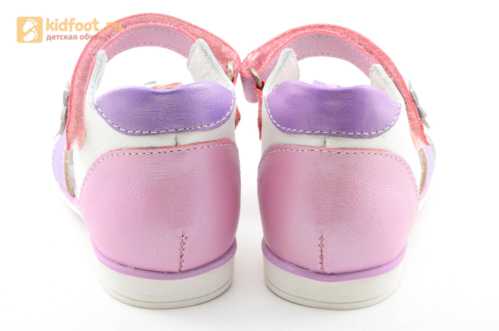 Босоножки ELEGAMI (Элегами) из натуральной кожи для девочек, цвет белый розовый
