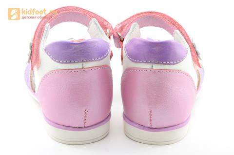 Босоножки ELEGAMI (Элегами) из натуральной кожи для девочек, цвет белый розовый. Изображение 6 из 12.