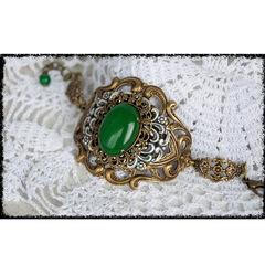 Кабошон овальный Агат Зеленый (тониров), 25х18х7 мм