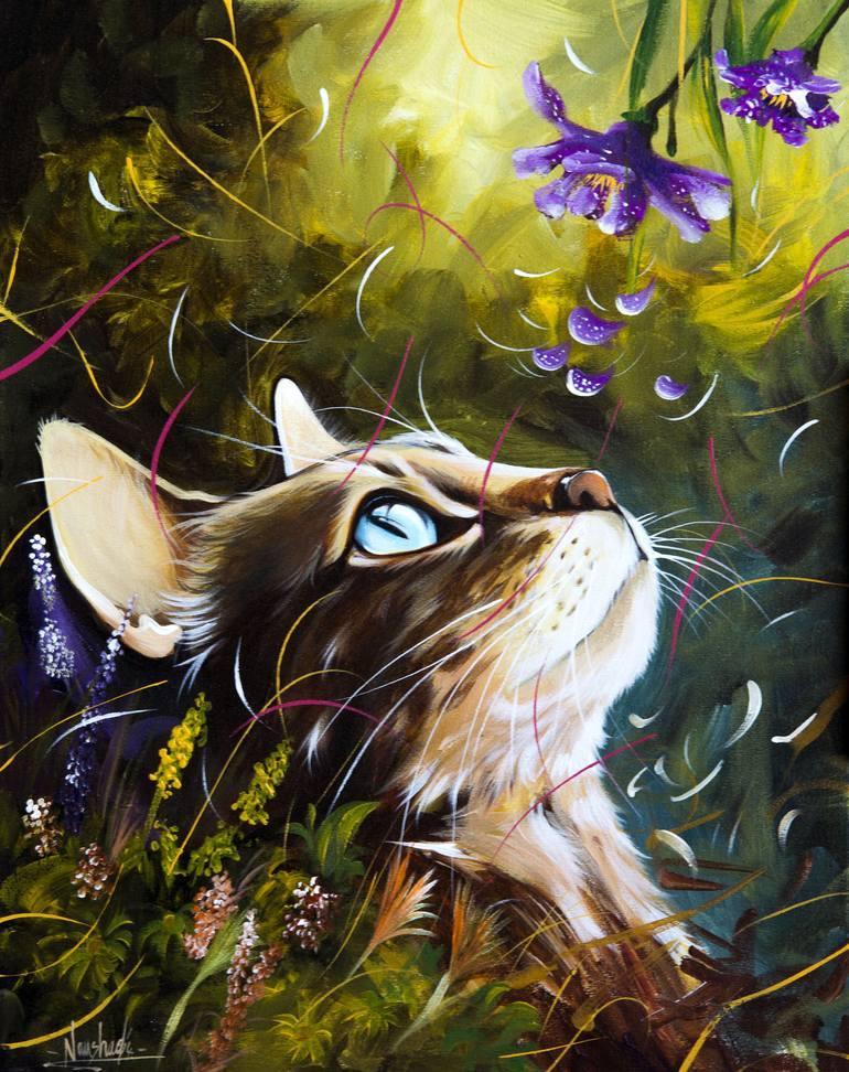Картина раскраска по номерам 30x40 Кот нюхает цветы ...