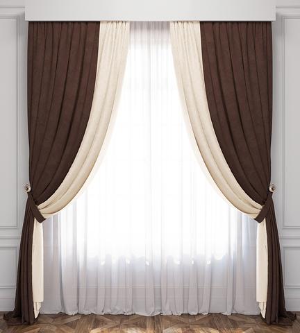 Комплект штор и тюль Ламанш сливочный-венге