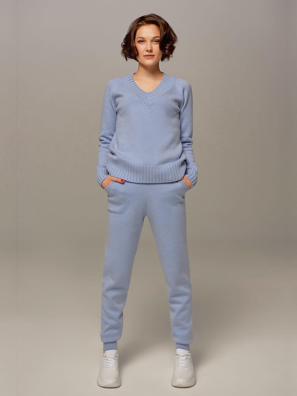 Женские брюки голубого цвета из шерсти и кашемира