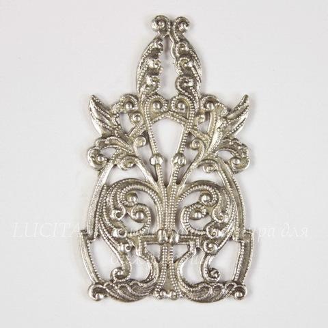 Винтажный декоративный элемент - штамп 44х27 мм (оксид серебра)