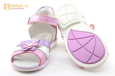 Босоножки ELEGAMI (Элегами) из натуральной кожи для девочек, цвет белый розовый. Изображение 8 из 12.