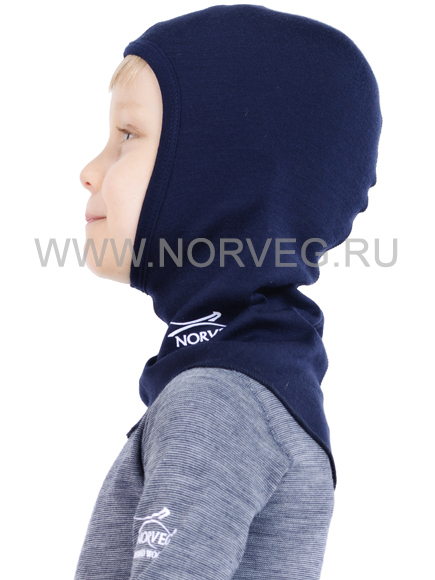 Норвег софт  детская шлем-маска с шерстью мериносов синяя