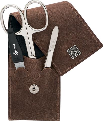 Немецкий фирменный маникюрный набор в 3 предмета ножницы двухсторонний пинцет пилка из высококачественной стали в коричневого цвета в футляре из натуральной кожи Solinger Erbe 9496ER в подарочной коробке