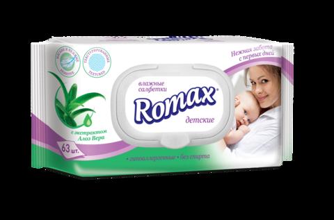 Romax Детские влажные cалфетки с экстрактом алое Romax 63шт