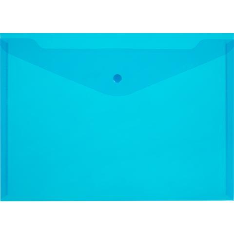 Папка-конверт на кнопке А4 синяя 0.18 мм 10шт/уп
