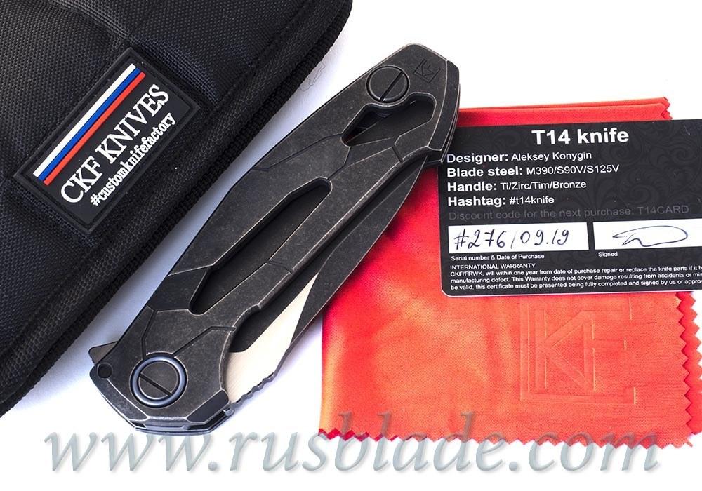 CKF T14B (new T90) knife - Alexey Konygin, M390, Copper, Ti