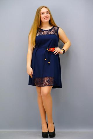Маки. Легка сукня великих розмірів. Синій.