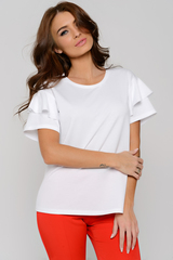 Оригинальная блуза модного кроя. Спущенное плечо с воланом. Рукав короткий.  (Длины: 44-48=63см; 50=64см)