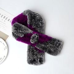 Вязаный меховой шарф-воротник (кролик) серо-фиолетовый