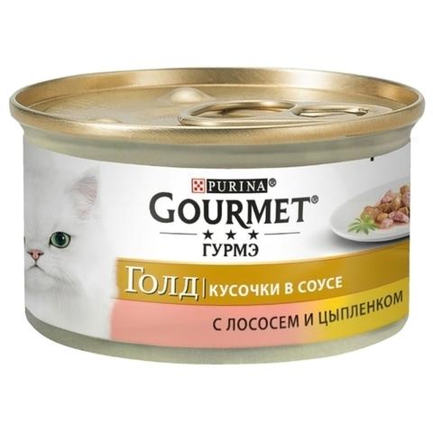Корм для кошек Gourmet (0.085 кг) 1 шт. Gold Кусочки в подливке с лососем и цыпленком 1 уп
