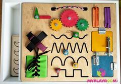 Крышка-бизиборд для домашней песочницы