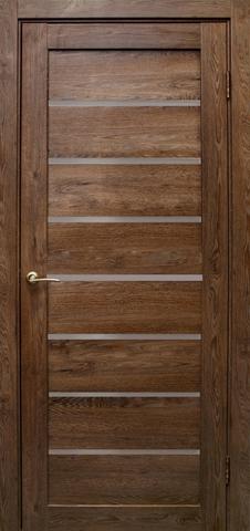 Дверь Эколайт Дорс Линия, стекло белое матовое, цвет дуб шоколадный, остекленная